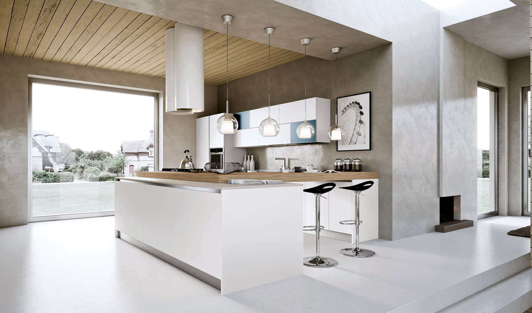 Kitchen designs that pop for Beautiful white kitchen designs