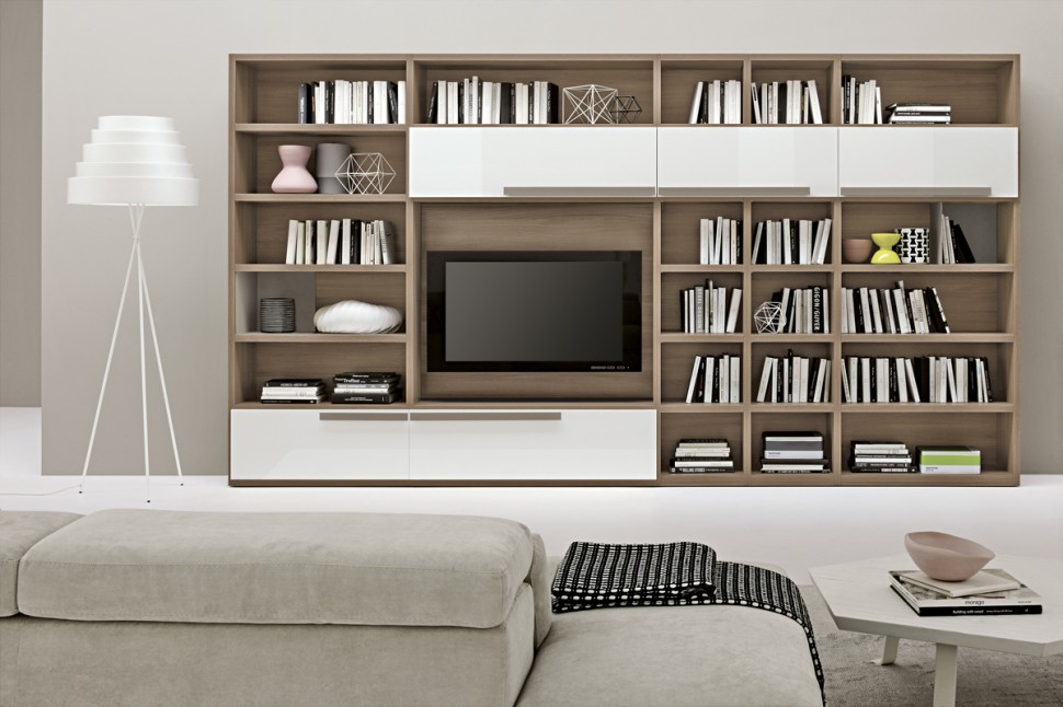 Living room bookshelves 46 interior design ideas for Living salon moderne