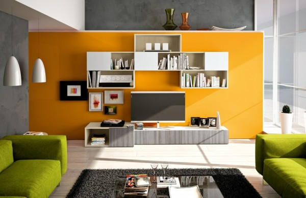 When selecting plainer furniture pieces, try jazzing up the look by mounting them onto a colorful feature wall. The units will break up the color and prevent it from appearing too overwhelming, so go bold.