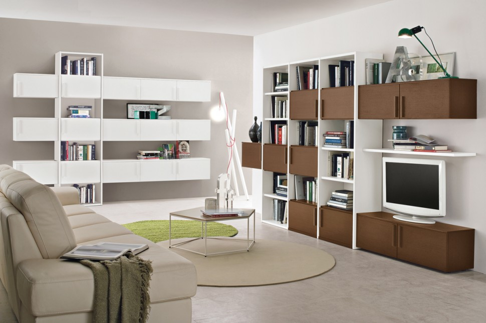 Living room bookshelves 62 interior design ideas for Bookshelves ideas living rooms