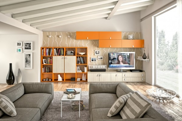 Modern Living Room Wall Units With Storage Inspiration: Interior