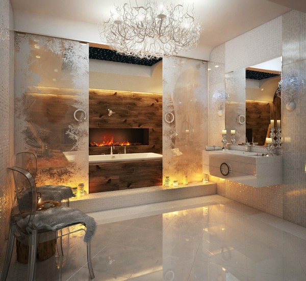This first bathroom, by Balamatsiuk Oksana, kicks off this collection of bathroom beauties with a pale scheme fit for a snow queen. Light fittings are dreamed out of stark winter branches, icy floor tiles skate across the floor and twinkling mosaic tiles form a wall of frost behind a wall mounted vanity unit.