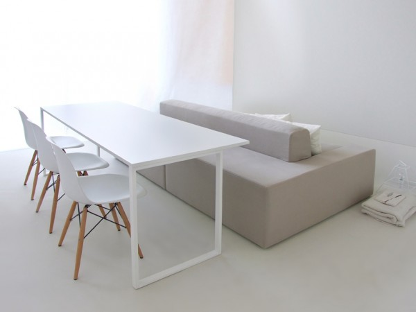 Gray dining bench