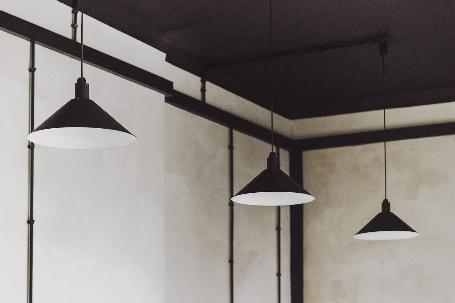Black Light Shades - Industrial style apartment with meeting room