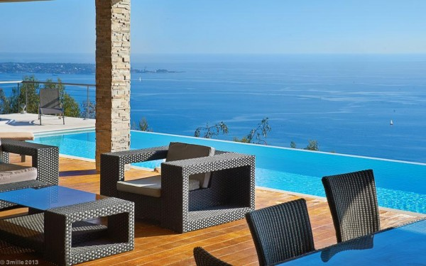 Outdoor lounge furniture provides further opportunity to soak up this prime location on the french riviera.