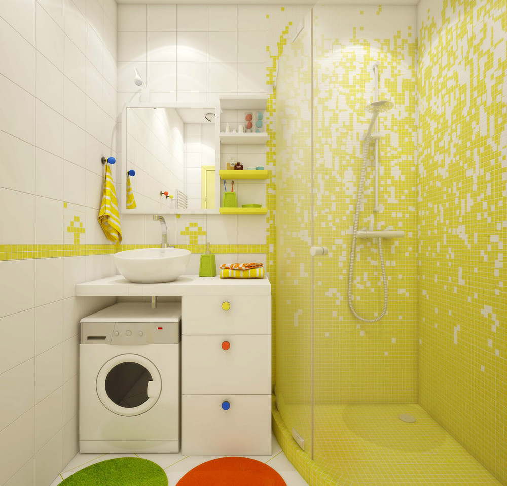 A super small apartment design with floor plan for Small shower room design