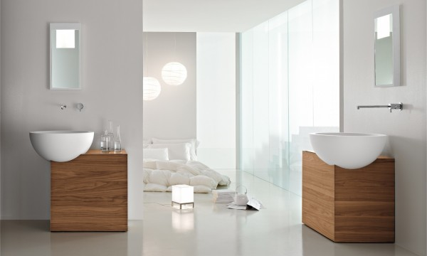 Simplistic vanity and basin combos work well as twin units, to keep the look uncluttered.