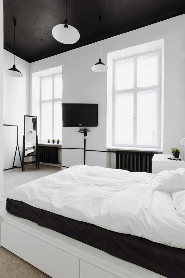 Black bedroom ceiling