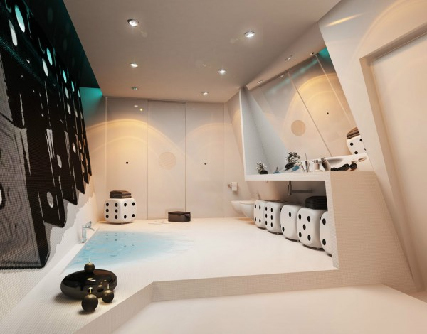 In a change of pace, this bathroom by Martyusheva Veronica follows a games theme, including a domino wall mural and dice stools.