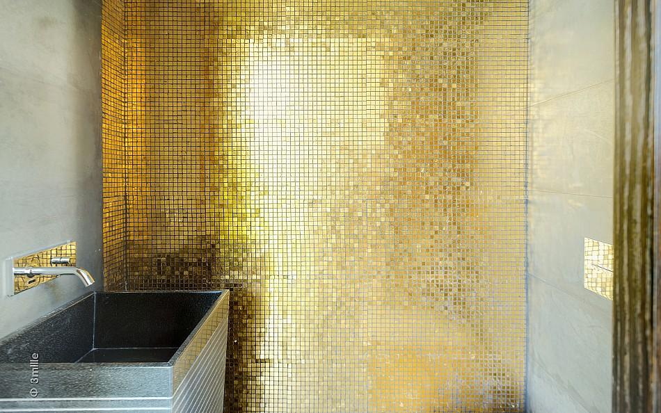 Modern villa with pool for Gold mosaic bathroom accessories