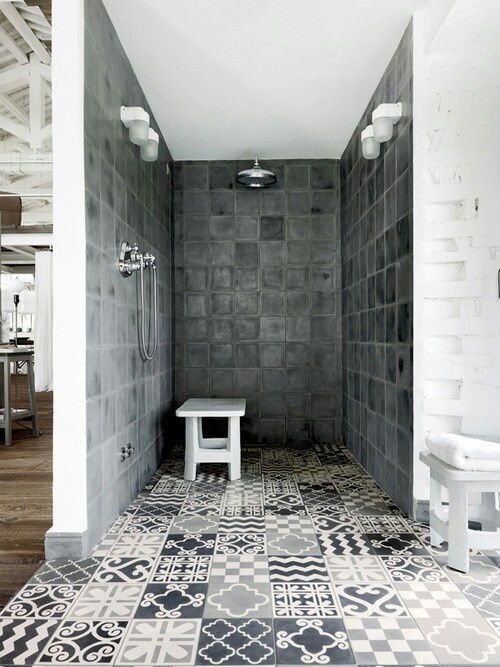 Patterned shower room tiles | Interior Design Ideas.