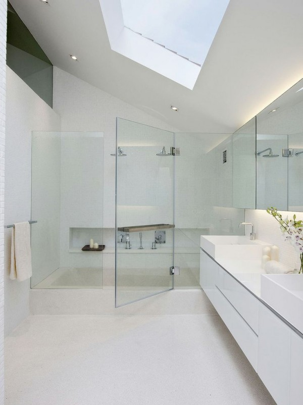 Plain white schemes will look luminous under a generous skylight.