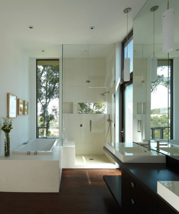 A head-height sliver of nature gives an attractive view from this shower cubicle.