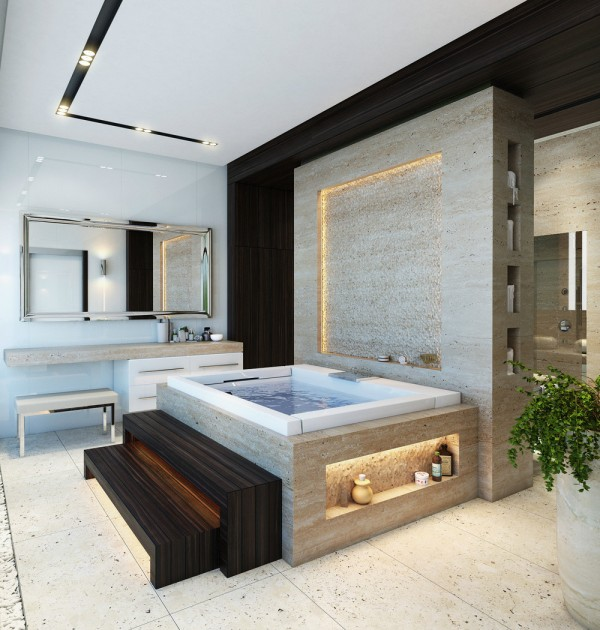 Maria Ivanova designed this smart and sophisticated bathroom scheme, with swathes of granite over the floor, tub and across large feature walls.