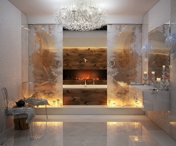 A long letterbox fireplace provides a slither of glorious heat to the room, situated above the bathtub, for long soaks under the bubbles. The bath tub has been partially obscured by frosted glass panels, giving the whole look a secretive element, like a wintertime hideaway.