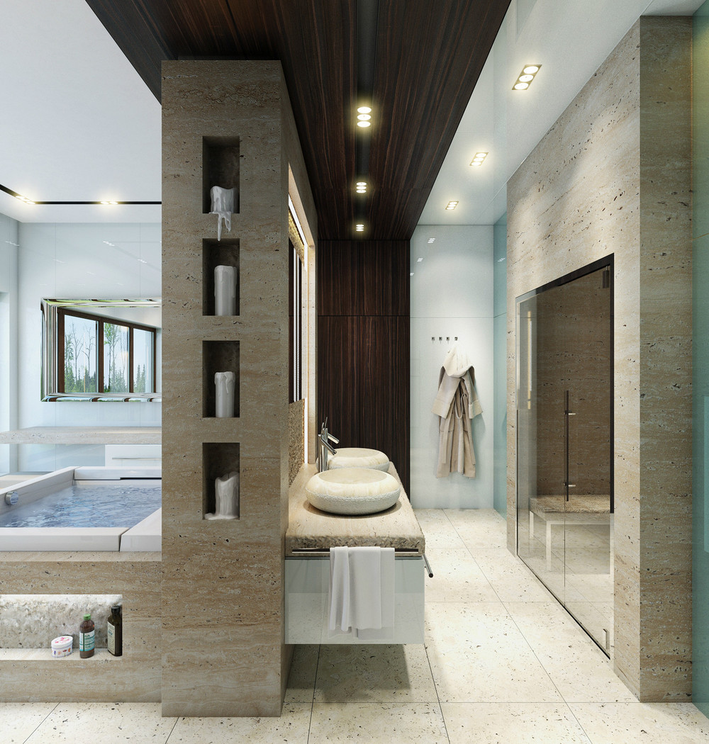 An in depth look at 8 luxury bathrooms - Accessoires salle de bain design noir ...