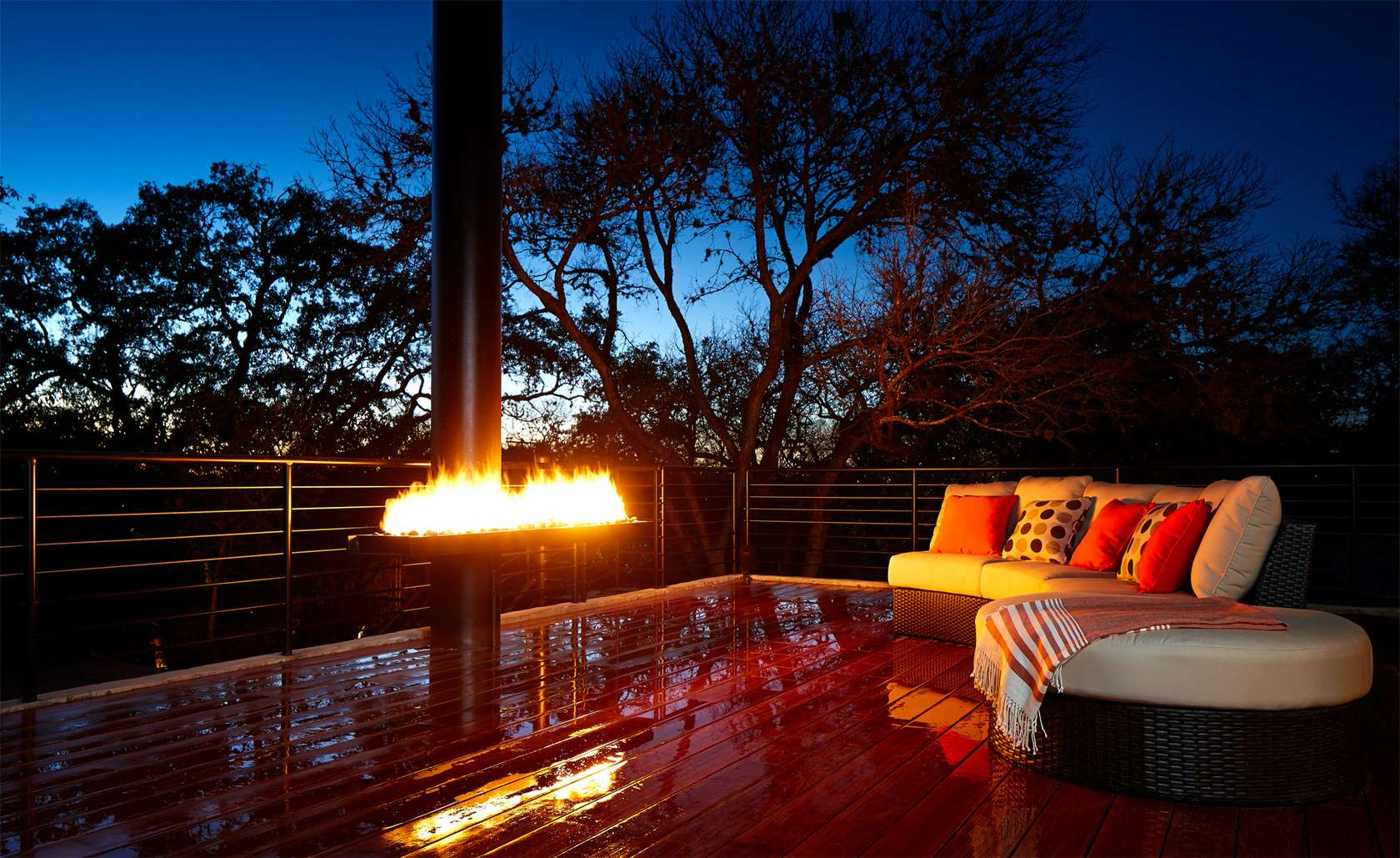 Outdoor Fireplace - Environmentally responsible home san antonio
