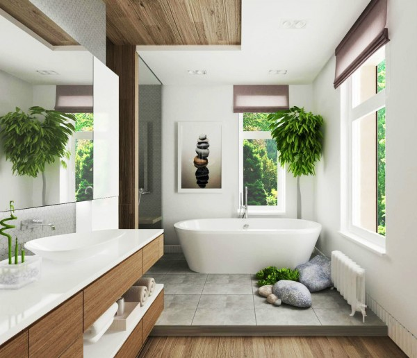 This bathroom design, by Design Bureau ARCHWOOD Marina Izmailov, is deliciously tropical in a laid back fashion, where zoning has been created by clever cutaways in differing materials.