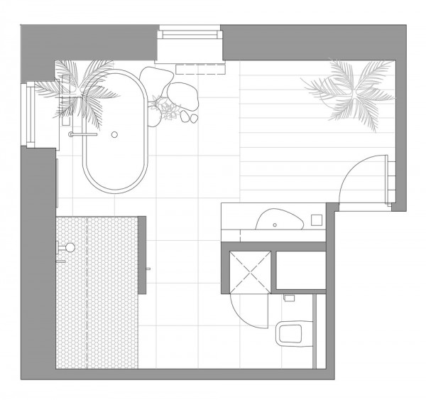Serene bathroom layout plan