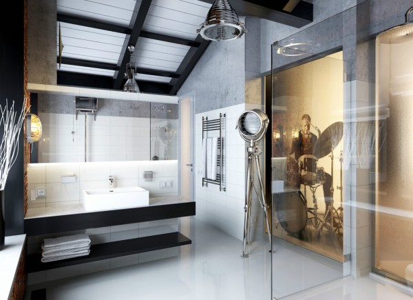 A masculine bathroom idea, by LINE8, has an industrial feel with a hint of rock and roll.