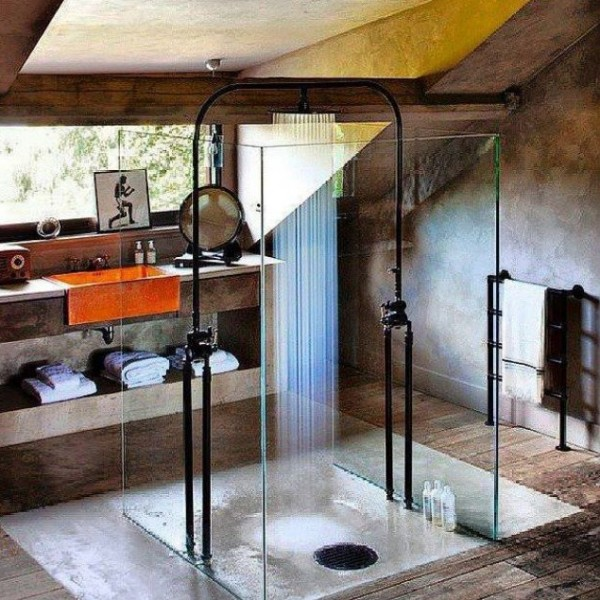 Not all shower room schemes have to be hyper-modern, this rustic shower room has bags of character.