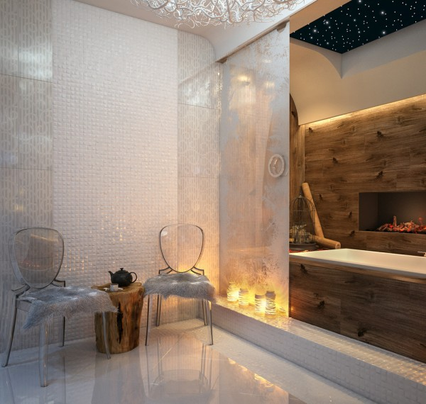 Above the bath, a faux night sky offers a soothing blanket of twinkling stars whilst you bathe. Nearby, two ghost chairs have been adorned with soft fur covers.