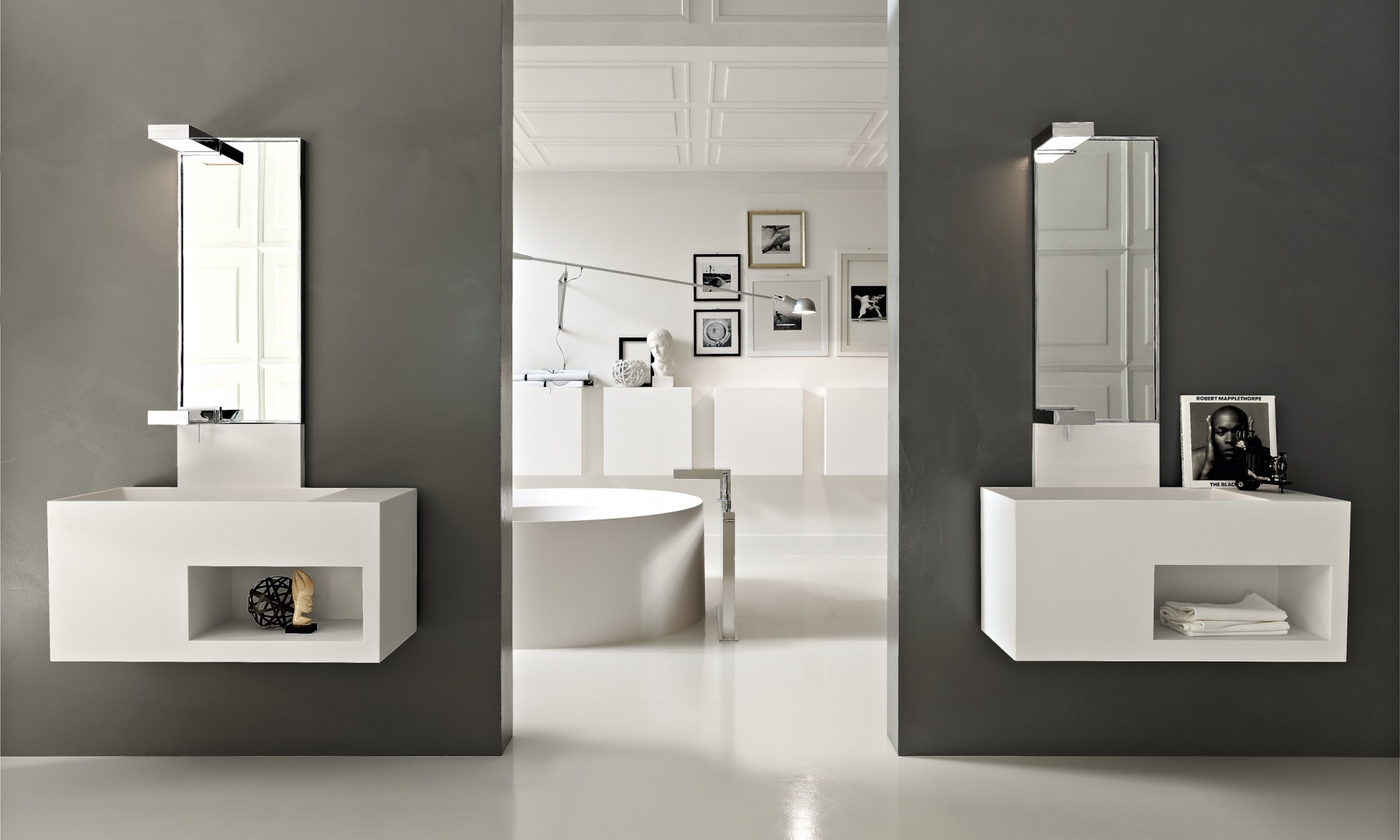 Ultra modern italian bathroom design for Bathroom double vanity designs