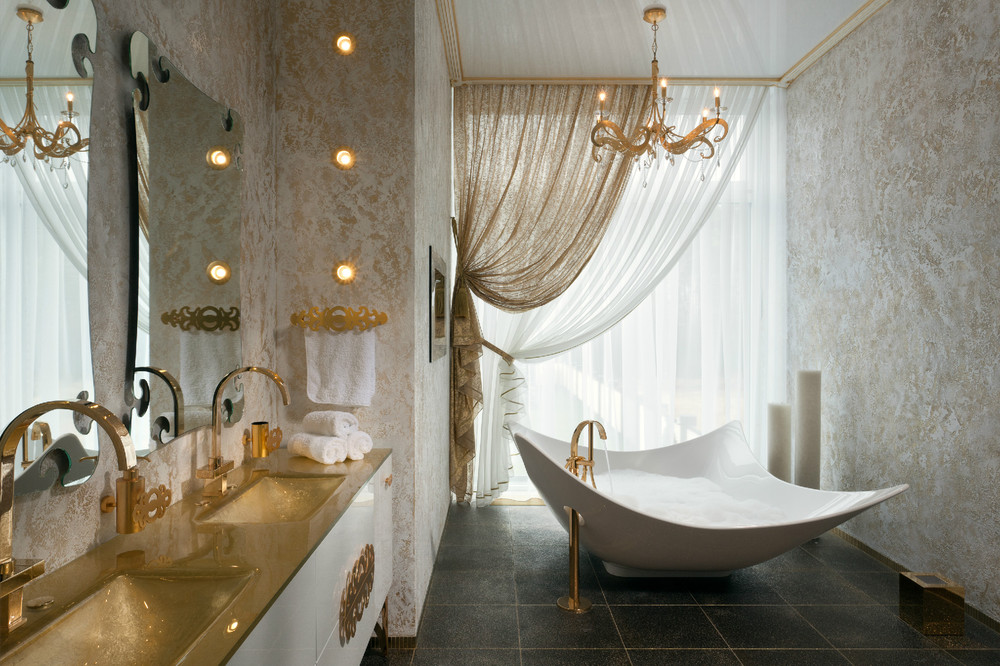 Gold white bathroom vanity interior design ideas - Salle de bains de luxe ...