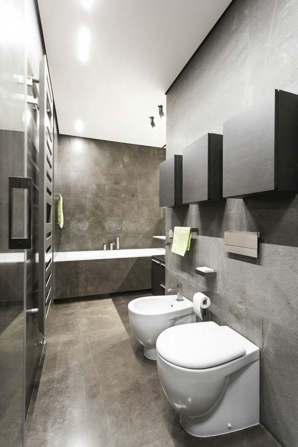 Taupe contemporary bathroom