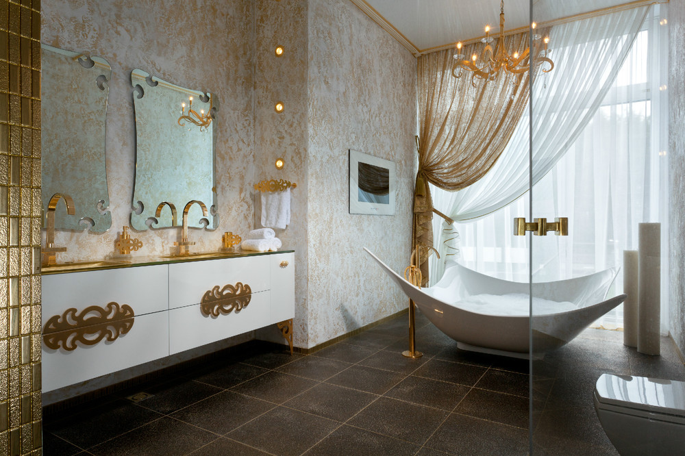 Gold white bathroom decor interior design ideas for Ideas for bathroom decorating themes