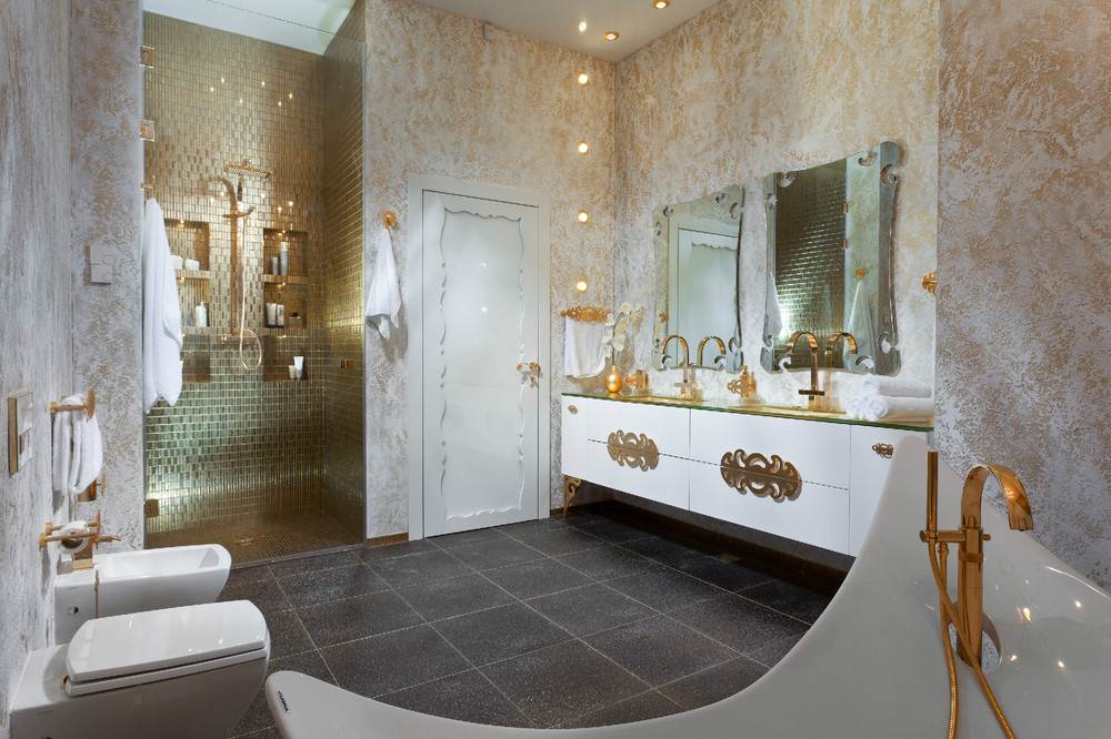 An in depth look at 8 luxury bathrooms for White and gold bathroom accessories
