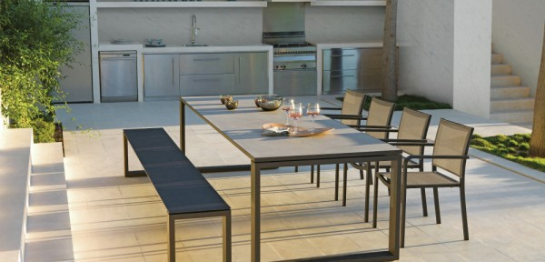 Contemporary outdoor dining bench