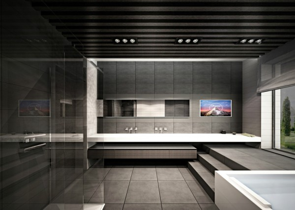 Dramatic bathroom design