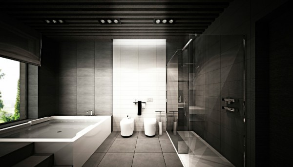 Dramatic bathroom scheme