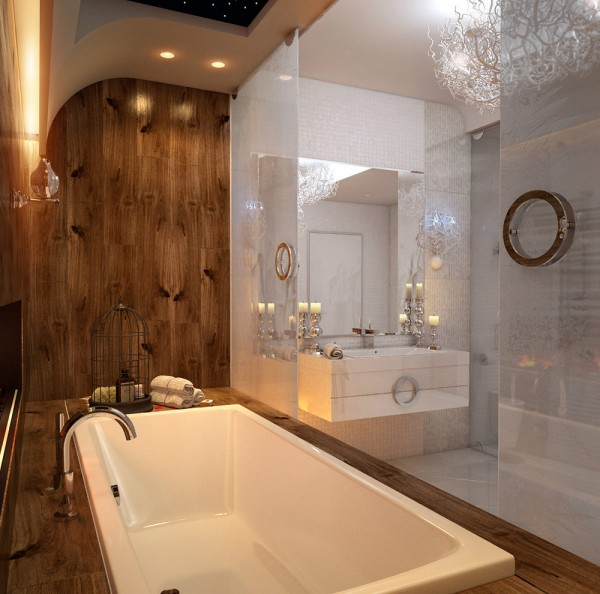 Wood paneling around the bath gives the bathing area a cozy cabin feel.