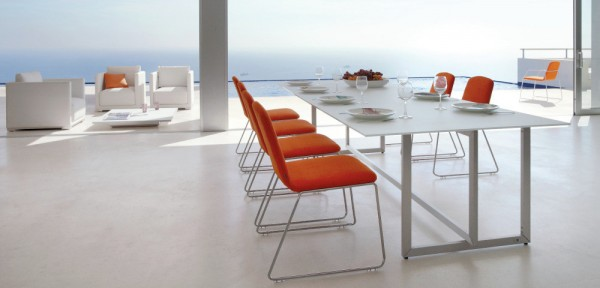 47 Orange white outdoor dining set