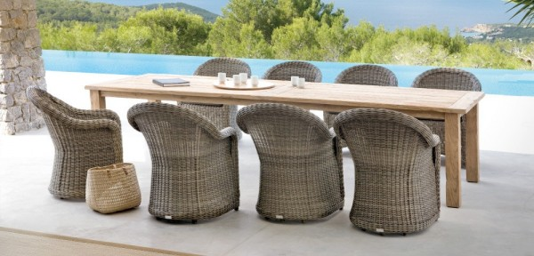 49 Outdoor wicker wood dining chairs table