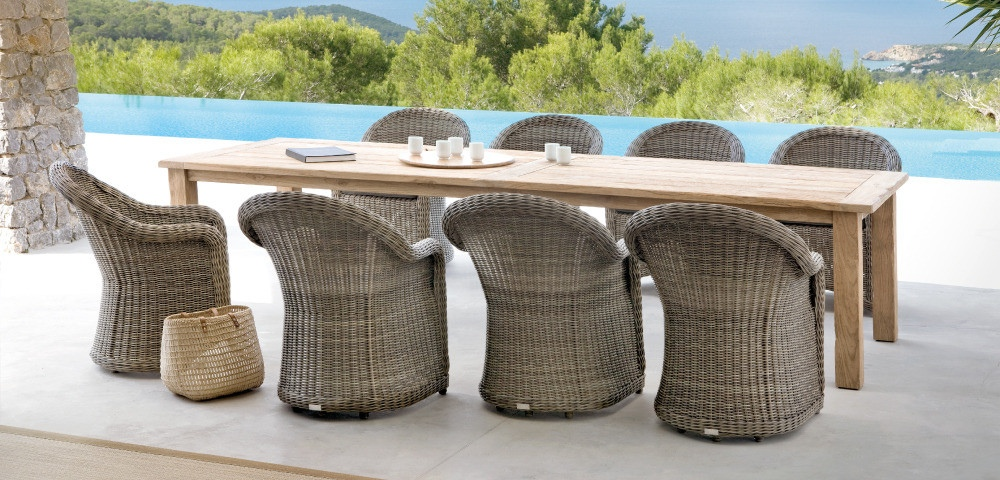 49 Outdoor Wicker Wood Dining Chairs Table Interior