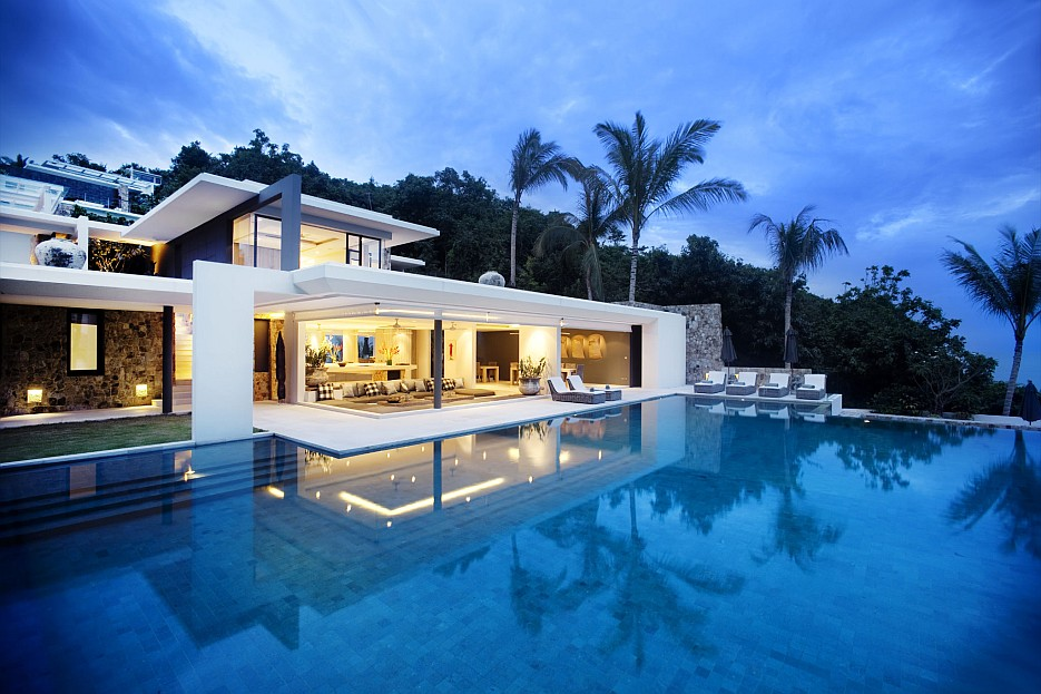 Crisp asian villa design for Pool design for villa