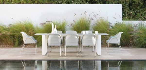 The chairs can have a lovely light look, especially in a white finish with a slimline outdoor table.