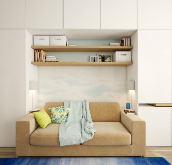 Instead of sofa end tables, tiny shelves provide a place for reading lamps and beverages.