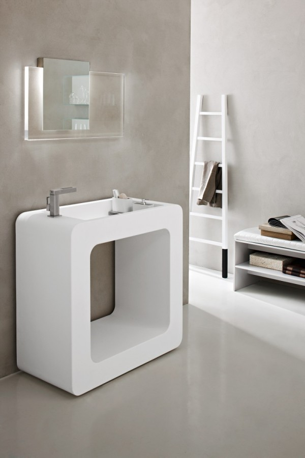 Cube bathroom basin