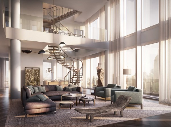 This digital rendering shows the living room design at One Madison Park. The plush penthouse has a large twisting staircase and lofty open plan living areas that are bathed in natural light from the vast expanse of floor to ceiling windows.