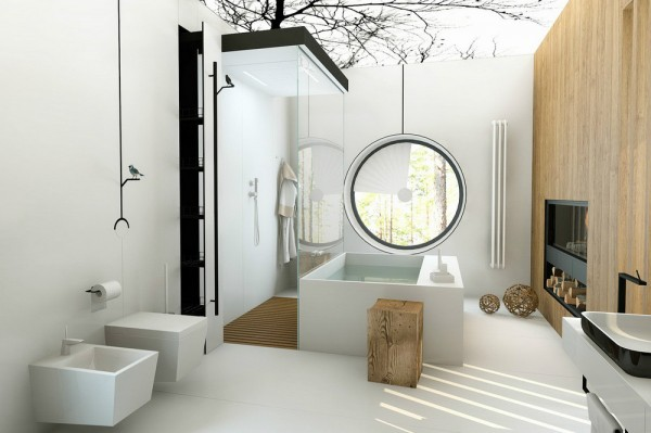 This bathing space, by Patrushev Eugene and Irina, is another nature inspired room. The dark branches of a treetop silhouette bough over the entire scheme, and tiny model birds perch on handles and hooks.