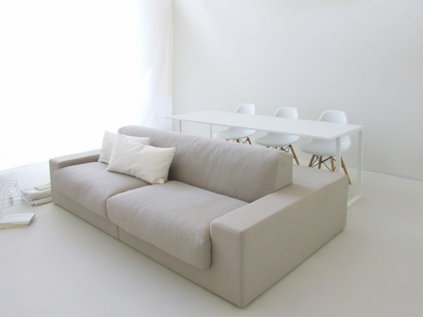 Gray dual sided sofa