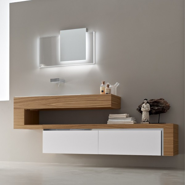 Wood white vanity unit