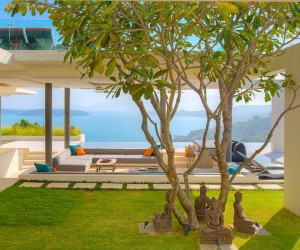 This villa, one of the newest at the deluxe Samujana spot, begins on a huge sun deck that overlooks a breathtaking natural spectacle.