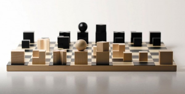 A minimalistic home would be well served by these wooden Bauhaus chess pieces.