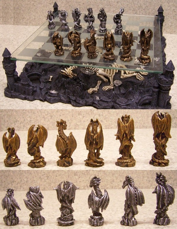 Fantasy fans will love this dragon chess set–another good option for home libraries, or even a computer games room.