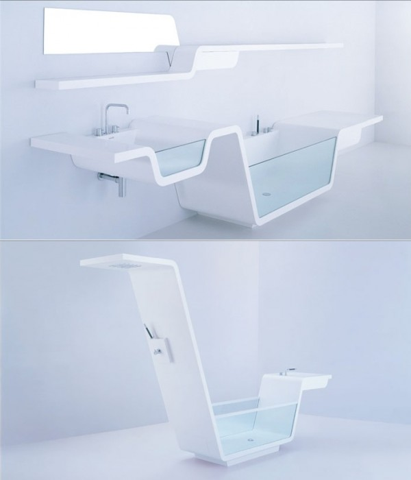 Continuous lines create these unique bathroom wonders, where a glass sided basin and bath are directly connected, or an over-bath shower is flipped to become an outer bath shower from the side of a freestanding tub.